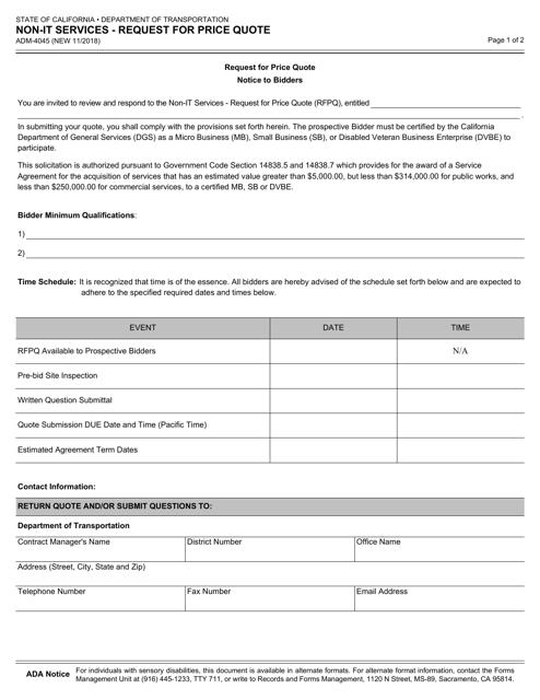 Form ADM-4045  Printable Pdf