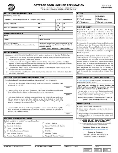 """Cottage Food License Application"" - Georgia (United States) Download Pdf"