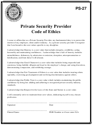 """Form PS-27 """"Private Security Provider Code of Ethics"""" - Oregon"""