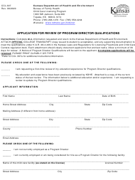 "Form CCL.307 ""Application for Review of Program Director Qualifications"" - Kansas"