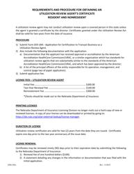 """Form DOI-URA """"Application for Certificate to Transact Business as a Utilization Review Agent"""" - Nebraska"""
