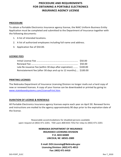 """Portable Electronics Insurance Agency License Application"" - Nebraska Download Pdf"