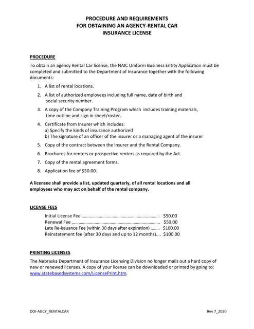 """""""Rental Car Agency Limited License Application"""" - Nebraska Download Pdf"""