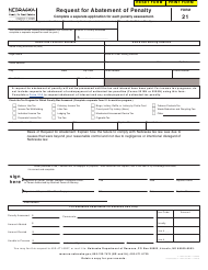 "Form 21 ""Request for Abatement of Penalty"" - Nebraska"