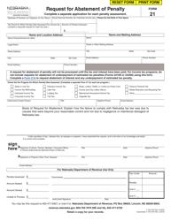 "Form 21 ""Request for Abatement of Penalty"" - Nebraska"
