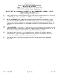 "Form 571 ""Appraisal Management Company Registration Form"" - Nevada"