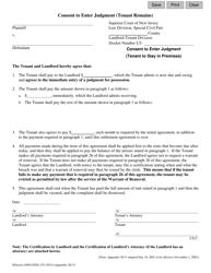 "Form 10514 Appendix XI-V ""Consent to Enter Judgment (Tenant Remains)"" - New Jersey"