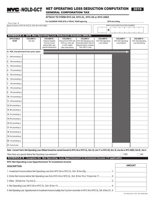 Form NYC-NOLD-GCT 2019 Printable Pdf