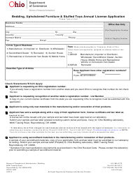 "Form ODOC4003 ""Bedding, Upholstered Furniture & Stuffed Toys Annual License Application"" - Ohio"