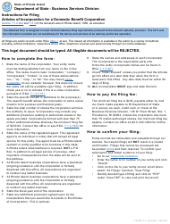 """Form 114 """"Articles of Incorporation for a Domestic Benefit Corporation"""" - Rhode Island"""
