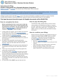 """Form 111 """"Articles of Dissolution for a Domestic Business Corporation"""" - Rhode Island"""
