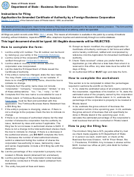 """Form 151 """"Application for Amended Certificate of Authority by a Foreign Business Corporation"""" - Rhode Island"""