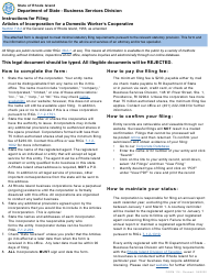 """Form 116 """"Articles of Incorporation for a Domestic Worker's Cooperative"""" - Rhode Island"""