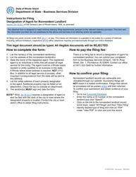 "Form 658 ""Designation of Agent for Nonresident Landlord"" - Rhode Island"
