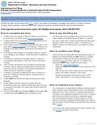 "Form 201 ""Articles of Amendment for a Domestic Non-profit Corporation"" - Rhode Island"
