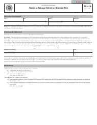 """Form TC-814 """"Notice of Salvage Vehicle or Branded Title"""" - Utah"""