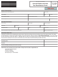 """Form TC-828 """"Aircraft Sales and Use Tax Remittance Form"""" - Utah"""