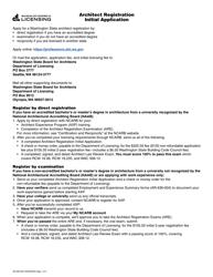 "Form AR-636-002 ""Architect Registration Initial Application"" - Washington"