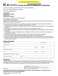 "Form BC-638-007 ""Cosmetology School Student Financial Aid Notification Certification"" - Washington"