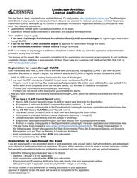"Form LA-656-003 ""Landscape Architect License Application"" - Washington"