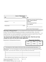 "Form XR121 ""Temporary Extreme Risk Protection Order - Without Notice (Exrpo)"" - Washington"