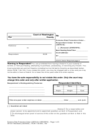 "Form XR241 ""Extreme Risk Protection Order - Respondent Under 18 Years"" - Washington"