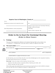 "Form FL All Family166 ""Order to Go to Court for Contempt Hearing (Order to Show Cause)"" - Washington"