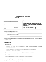 "Form MP260 ""Order Dismissing Felony Charges and Directing Civil Commitment Evaluation"" - Washington"
