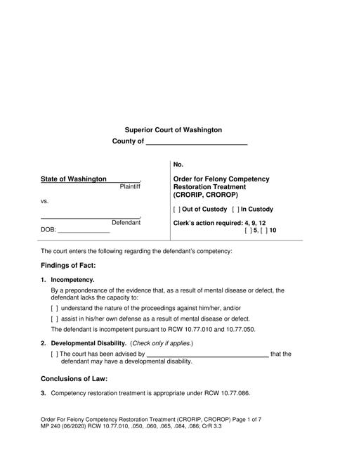 Form MP240 Printable Pdf