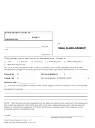 "Form MISC05.0500 ""Small Claims Judgement"" - Washington"