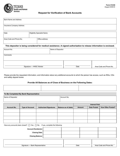 Form H1239 Printable Pdf