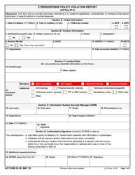 "AE Form 25-2B ""Cyberdefense Policy Violation Report"""