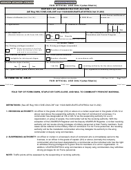 """AE Form 190-1K """"Report of Administrative Action"""""""