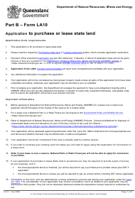 "Form LA10 Part B ""Application to Purchase or Lease State Land"" - Queensland, Australia"