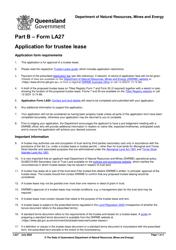 "Form LA27 Part B ""Application for Trustee Lease"" - Queensland, Australia"