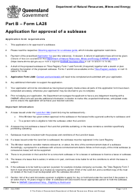 "Form LA28 Part B ""Application for Approval of a Sublease"" - Queensland, Australia"