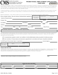 "Form CMS-100B ""Promotional Employment Application"" - Illinois"
