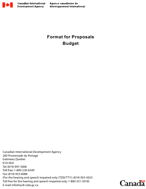 Budget Proposals Template - Canada Download Pdf