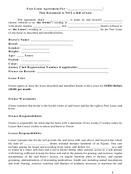 """""""horse Lease Agreement Template"""""""