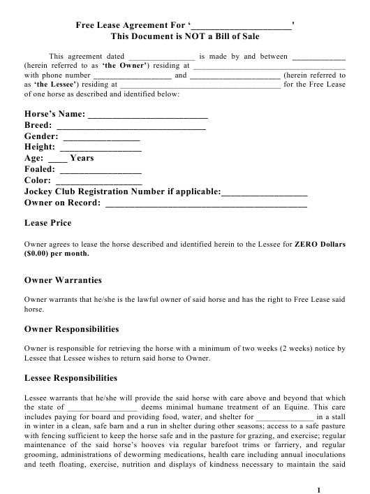 Horse Lease Agreement Template Download Printable Pdf Templateroller