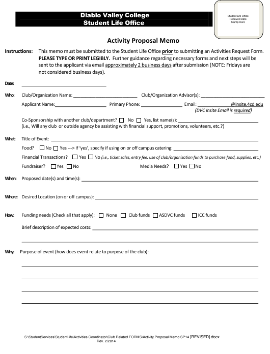 """Activity Proposal Memo - Diablo Valley College"" Download Pdf"