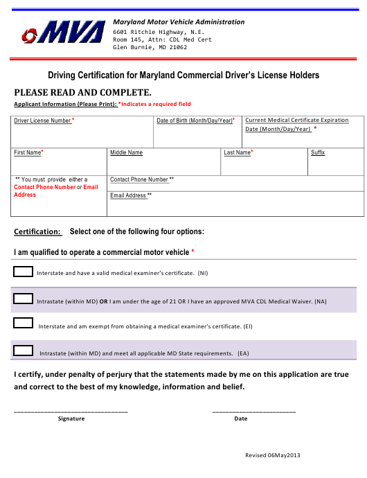 """""""Driving Certification Form for Maryland Commercial Driver's License Holders"""" - Maryland Download Pdf"""