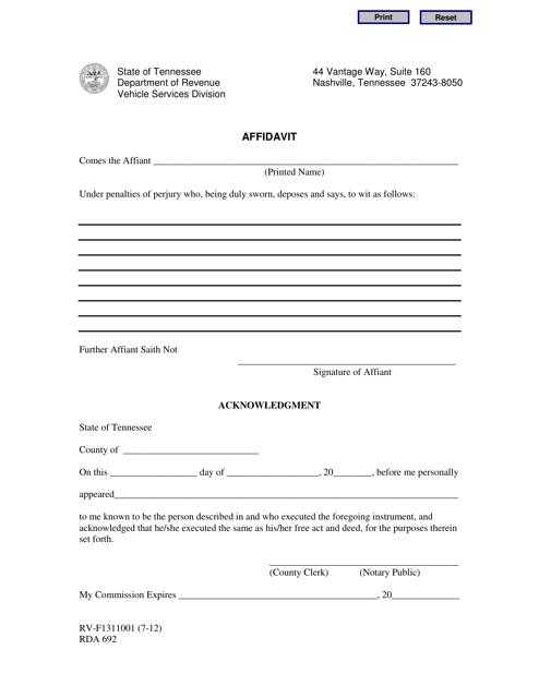 Form 1311001  Printable Pdf
