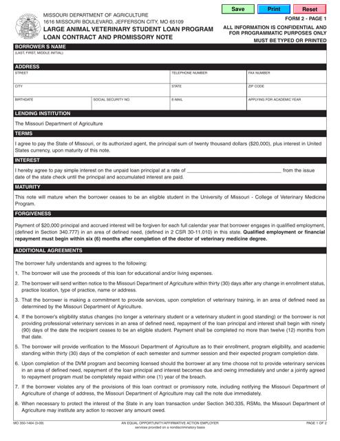 Form MO 350-1464 Fillable Pdf