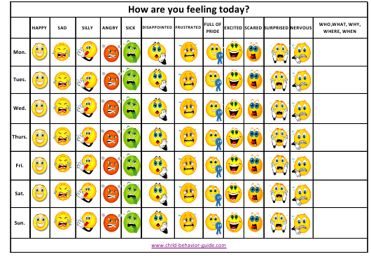 Mood Chart Template Download Pdf
