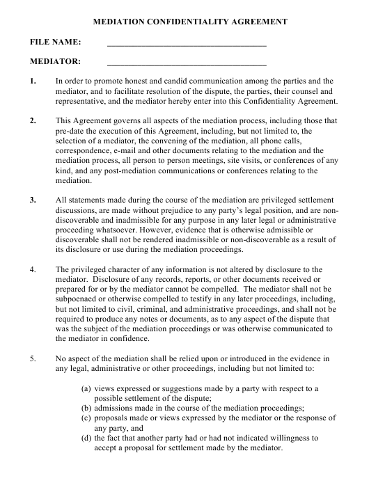 Mediation Confidentiality Agreement Template Download Pdf