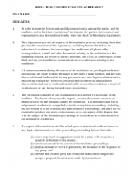 Mediation Confidentiality Agreement Template