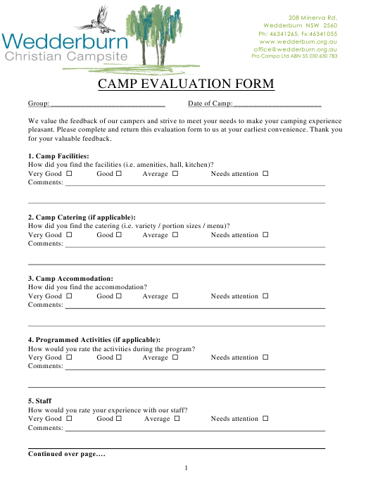 """Camp Evaluation Form - Wedderburn Christian Campsite"" Download Pdf"