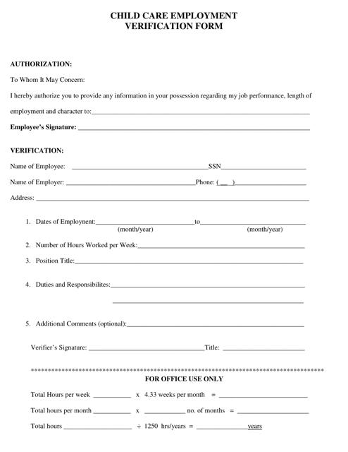 """Child Care Employment Verification Form"" - Pennsylvania Download Pdf"