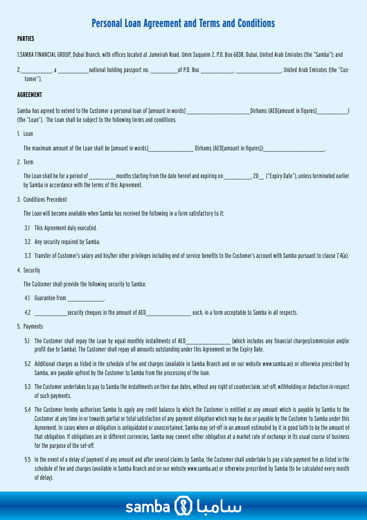 """""""Personal Loan Agreement and Terms and Conditions Form - Samba Financial Group"""" - Dubai, United Arab Emirates Download Pdf"""